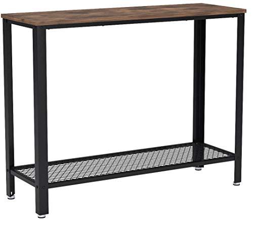 VASAGLE Konsolentisch Holz und Metall im Industrie-Design, Stabiler Beistelltisch, Flurtisch, für den Eingang, Wohnzimmer, einfache Montage, Vintage LNT80X