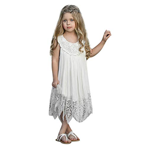 i-uend 2019 Mädchen Frühling Sommer Kleid - Kleinkind Kleinkind Baby Mädchen ärmellose Rüschen Spitze Sommerkleid Tuch Prinzessin Kleid