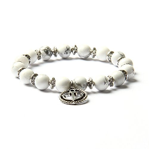 Silber Sport Armband (GOOD.designs Perlen-Armband aus Howltih / Onyx-Natursteinen mit Anker Charm-Anhänger in Gold (Howlith / Anker Silber))