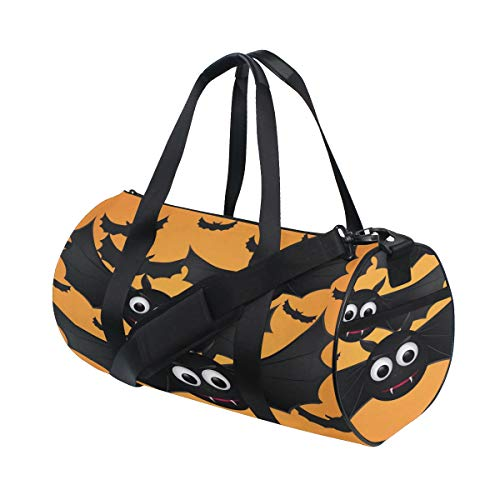 Halloween Orange Scary Eye Flying Bat Benutzerdefinierte Multi Leichte Große Yoga Gym Totes Handtasche Reise Canvas Seesäcke mit Schulter Crossbody Fitness Gepäck für Jungen Mädchen Herren Damen