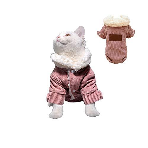 Khemn Designer-Wintermantel für Katzen, flauschig, warm, weiches und Dickes Berber-Fleece, Rosa/Olivgrün Berber-pullover