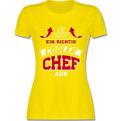 Sonstige Berufe - So Sieht ein Richtig Cooler Chef Aus - Damen T-Shirt Rundhals Lemon Gelb