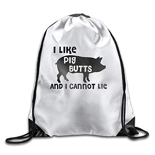 uykjuykj Tunnelzug Rucksäcke, I Like Pig Butts and I Cannot Lie Halloween Unisex Gym Drawstring Shoulder Bag Backpack String Bags Lightweight Unique 17x14 IN