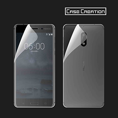 Case Creation Nokia 6 Screen Guard, Nokia 6 Android Full Screen Coverage Guard Screen Protector Buff Guard Front and Back (Clear)