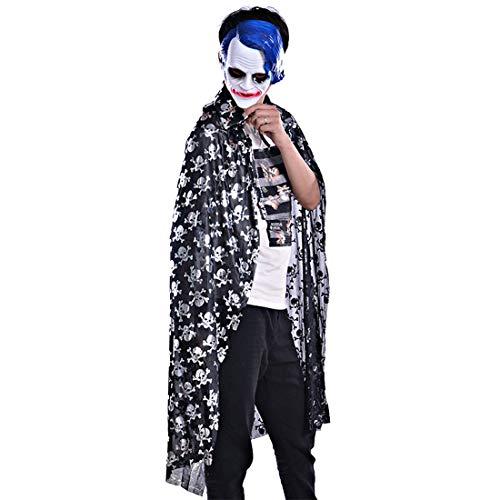 FLYA Skull Spider Pattern Adult Mantel Halloween Ghost Festival Mantel Maskerade Kostüm,160cm-Silver