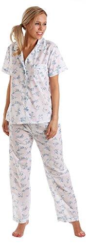 Signore Signora Olga Polycotton Short Sleeve Floreale Camicia da notte rosa o blu 10-32 Blu - Pigiama