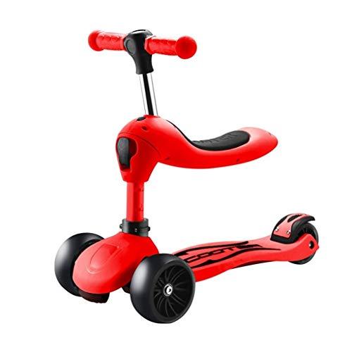 Skateboards Mehrzweckroller Kinder 1-2-3-6 Jahre Alt Können Einen Roller EIN Fahrrad Mit 4 Rädern EIN Faltendes Dia-Auto EIN Geschenk Nehmen (Color : Red, Size : 67 * 25 * 40cm)