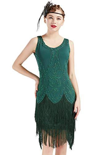 Coucoland 1920s Kleid Damen Flapper Kleid ohne Ärmel V Ausschnitt Knielang Charleston Kleid Gatsby Motto Party Damen Fasching Kostüm Kleid (Dunkelgrün, M)