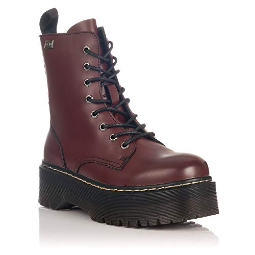 COOLWAY Abby, Botas Militares Mujer, Rojo