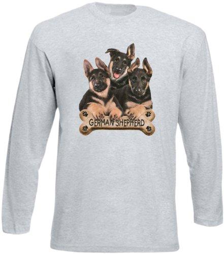 Hunde-Longsleeve Langarm-Shirt Herren Aufdruck: German Sheperds - schönes Tier Motiv Grau
