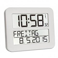Idea Regalo - TFA Dostmann 60.4512 TimeLine Max Radio Orologio da parete digitale, bianco con batterie