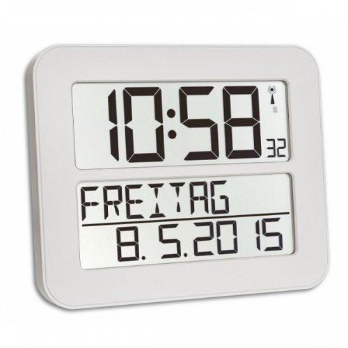 TFA Dostmann 60.4512 TimeLine Max Funkuhr digitale Wanduhr (Weiß mit Batterien)