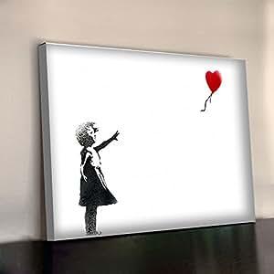 Petite fille au ballon rouge de BANKSY Blanc Affiche encadrée 340gsm XL 30 x 20 cm en coton épais Office Tableau Toile murale 750 x 500 mm