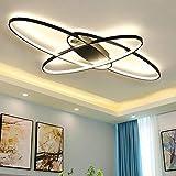 LED Deckenleuchte Oval Design Wohnzimmerlampe Dimmbar 3000K-6500K Helligkeit Einstellbar/Farbe Schlafzimmerlampe Fernbedienung Deckenlampe Acryl-Panel Pendelleuchte Esszimmer Küche Lampen (Schwarz)