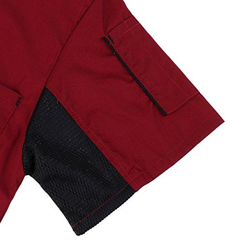 MagiDeal Herren und Damen Kurzarm atmungsaktiv Kochjacke mit Paspel und Knöpfe im verschiedenen Farben - Rot, XL - 5
