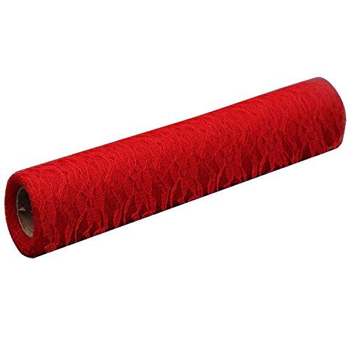 Gosear 1 Rouleau Floral Dentelle Ruban Tissu Décoration Accessoires pour Mariage Parti Bricolage Craft Cadeau Emballage Accueil 12 Pouces x 9.8 Verges Rouge