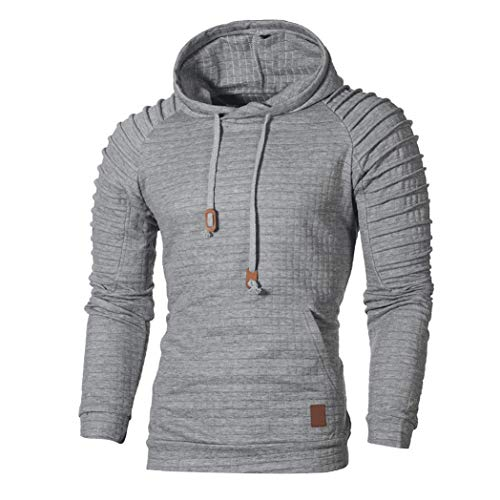 ZIYOU Herren Herbst Sweatshirt Langarm Pullover mit Kapuzen, Männer Kariert Hoodie Outwear Hemd Sport T shirts Top Tee (2XL,Grau)