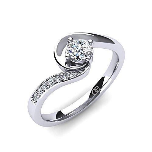 Moncoeur Ring Princesse + Verlobungsring Trauring für Damen mit Zirkonia + CZ-Solitärring aus 925 Sterling Silber + kostenlose Geschenkbox + perfekte Maße und Design + Comfort-Fit (52 (16.6))