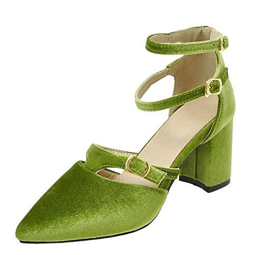Coolulu Damen Spitze Pumps mit Riemchen Blockabsatz Geschlossen Ankle Strap High Heels 7cm Absatz Schuhe (Grün,39)