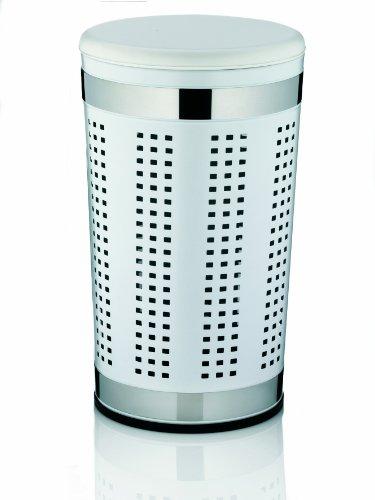 KELA 21817, Wäschetruhe mit Sitzkissen, Rund, 60,5 cm Höhe, Metall, Sevilla, Weiß