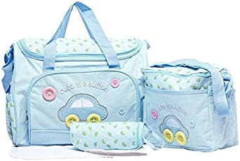 Baby Station Baby Diaper Nappy Changing Baby Diaper Bag/Baby Bag/Mummy Bag/Handbag (4pcs Set) (Light Blue)