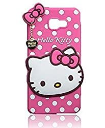 Qzey 3D Cute Hello Kitty Soft Back Cover For Samsung Galaxy C7 Pro -Pink