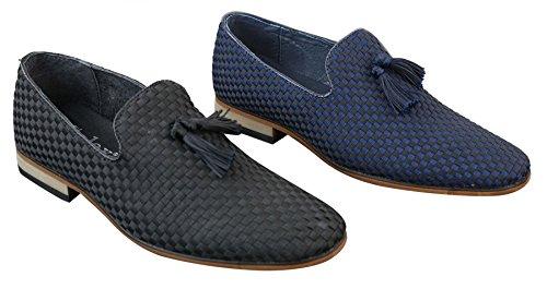 Herrenschuhe Retro Blau Schwarz Slip On Design Lederfutter Formell Lässig Blau