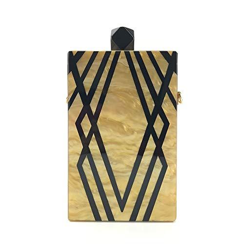 AntCompany Arbeiten Sie gestreifte Acrylhandtasche einzelne Hochzeitskleid-Bankettbeutelkettenschulter tragbare Kurierabendbeutel-Damegröße um: 11 * 4.3 * 17cm (Farbe : Beige) - Hoch Gestreifte Kabel