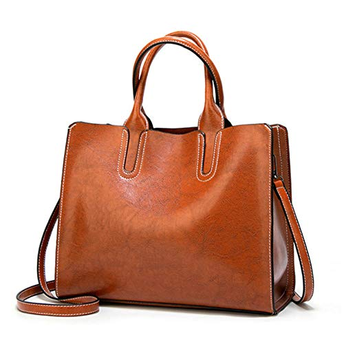 Big Brown Bag (Lederhandtaschen Big Women Bag Hochwertige Casual Taschen Trunk Tote Marke Schultertasche Ladies Large @ White_brown)