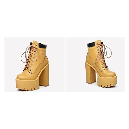 YYH Plateforme cheville Chunky chausson confortable talon haut chaussure de marche Yellow