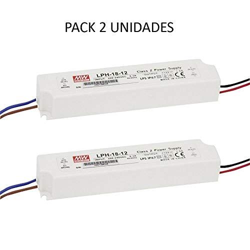 Meanwell 2 x Transformator 220 V auf 12 V wasserdicht außen für LED Streifen 18 W- Mean Well LPH-18-12 12 12 V 1,5 A 18 W IP67 - Netzteil 12 V wasserdicht - Pack 2 Netzteil 220 V bis 12 V (Power-strip-pack)