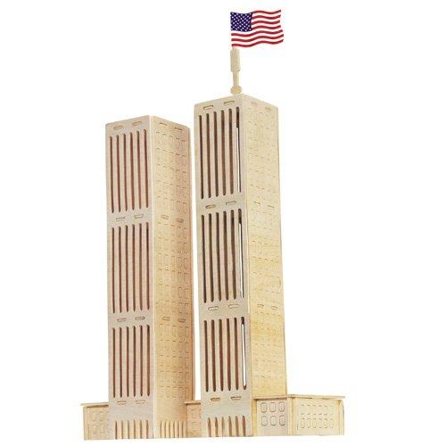 Preisvergleich Produktbild World Trade Center 3D Holzbausatz Twin Towers Holz Steckpuzzle Holzpuzzle Bauwerk GP090