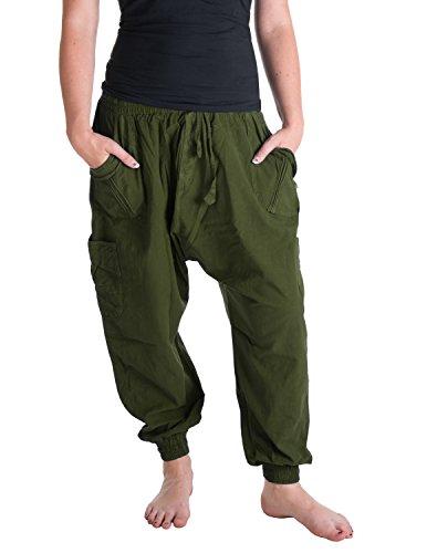 Bundes-olive Bundes-olive (Vishes – Alternative Bekleidung – Sommer Haremshose mit Taschen aus Baumwolle mit elastischem Bund – handgewebt olive Einheitsgröße 38 bis 44)