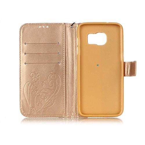 Prägen Blumen-Case, Magnetverschluss Synthetische PU-Leder-Kasten-Abdeckung mit hängenden Seil und Wallet-Funktion für SAMSUNG S7 EDGE ( Color : Pink , Size : SAMSUNG S7EDGE ) Gold