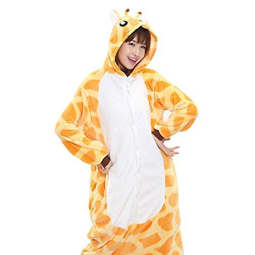 Vertvie Femme/Homme Unisex Animaux Combinaison Pyjama Flanelle Tenue Onesie Chaud Costume Pattes d'Animaux Pantoufle Chausson pour Halloween Cospaly Soirée de Déguisement Jaune Girafe