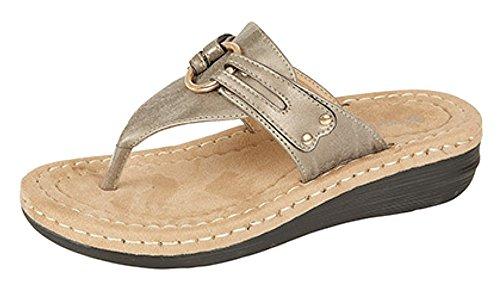 Donna Infradito Mule sandali con soletta Comfort Argento (Peltro)