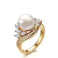 Onefeart Women Stainless Steel Rings For Girl Wedding Band,3MM IP Gold Plating Pearl Size N 1/2 Gold