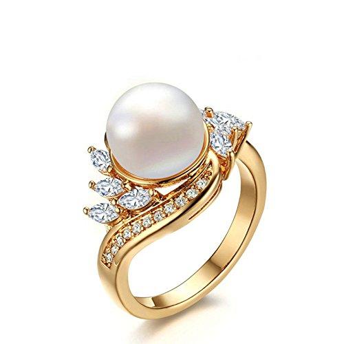 Onefeart Damen Edelstahl Ring für Mädchen Hochzeitsband,3MM Vergoldet Perle Größe 57 (18.1) Gold (Schuhe Damen Platin)