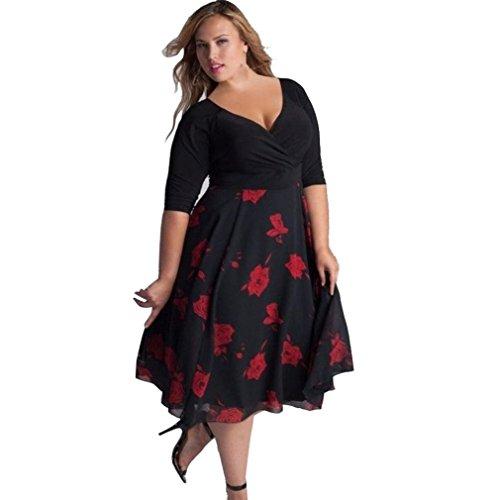 MRULIC Damen Frauen Plus Größe V-Ausschnitt Floral Maxi Abend Party Boho Strandkleid(Rot,EU-52/CN-3XL) (Cheerleader Kostüm Plus Größe)