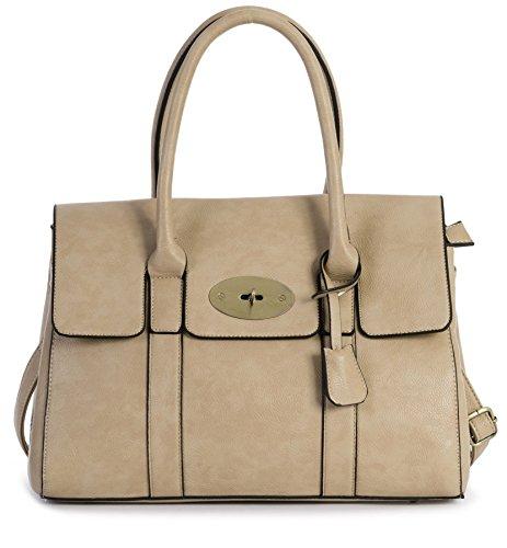 Big Handbag Shop Damen Kunstleder Designer Boutique Top Griff Umhängetasche Beige