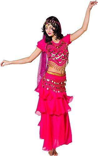 Damen traditionell volle Länge rosa Arabisch Türkisch Prinzessin Jasmin Bauchtänzerin Henne Do Abend Party Kostüm Kleid Outfit (Schwarz Bauchtänzerin Kostüme)