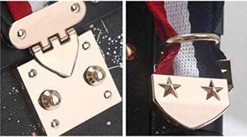 Frauen PU-Leder Retro Mini Einzelne Schulter-Umhängetasche Hit Color Box Bag Black
