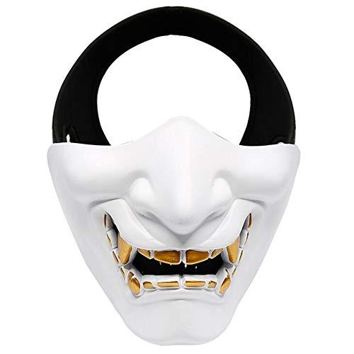 Face Besten Am 2 Kostüm - WEYQ Halloween Halbmaske Tactical Prajna Half Face Halbmaske One Size Fits Most Resin Material für Halloween Cosplay Kostüm Jagd Schießen,A
