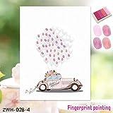 ouying1418 Canvas Fingerabdruck Gästebuch Dekoration Schöne Hochzeit Auto Finger Painting