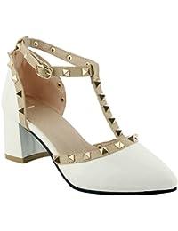 Damen T-Spange Blockabsatz Sandalen mit künstlich Edelstein (34, Schwarz) MissSaSa