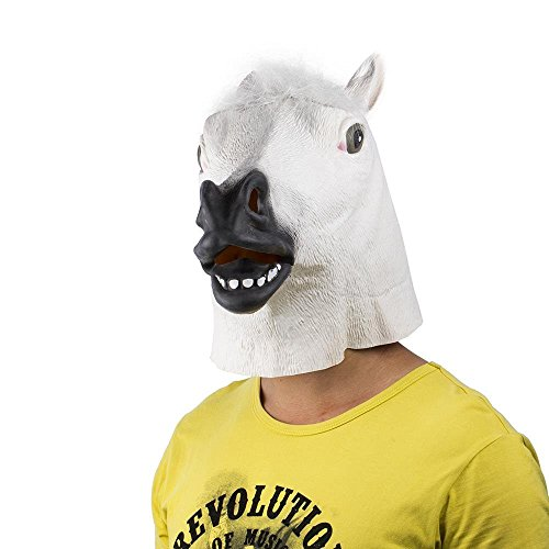 te Maske für Kostüm - Verkleidung - Karneval - Halloween - Weißes Pferd - Erwachsene - Unisex - Frau - Mann - Jungen ()