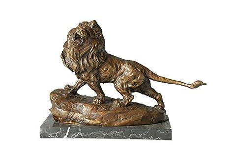 Toperkin Bronze Statues Animal Sculptures Lion Roar Hand-made Figurine Garden Statue TPAL-081