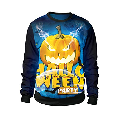 Honestyi Mens Casual Scary Halloween Liebhaber 3D Print Party Langarm NOhoodie Top Bluse B102 020 Hallo WEEN Party Langarm Sweatshirt mit Paar Halloween 3D Drucken