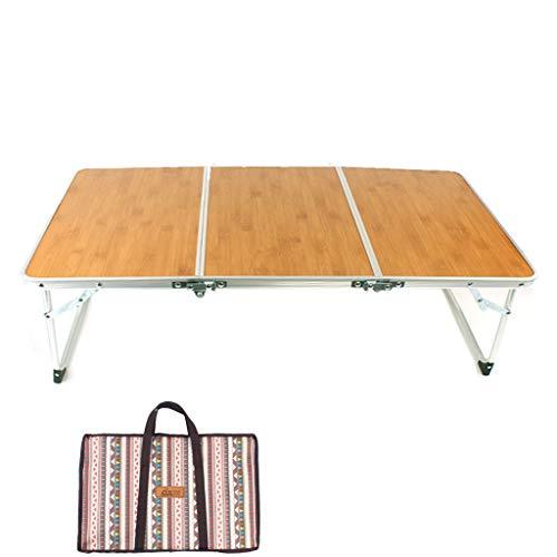 AQUYY Tragbare Klapptisch, Bambus Tisch, Einfache Möbel, Geeignet Für Innen-und Außenbereich, Camping, Picknick, Grill