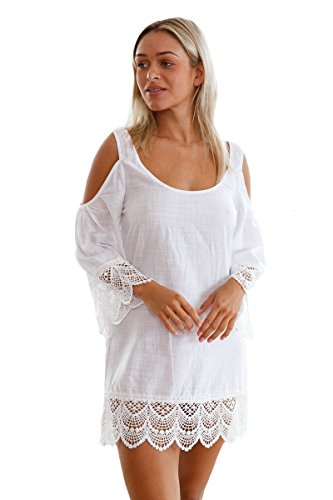 Weiß Lacy Crochet Trim Crinkle kalte Schulter Beachwear Größe 38-40 (Lacy Leggings Für Frauen)